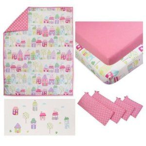 new Pinwheel Cottages 6pc baby girl crib set
